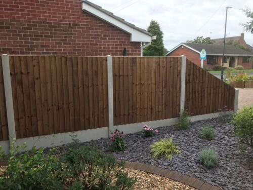 6ft fencing on concrete posts and concrete gravel with a drop panel in derby