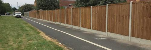 Close board panels on concrete posts and concrete gravel boards in derby
