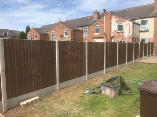 New close board fencing on concrete posts and concrete gravel boards in derby