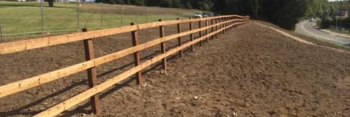 Post and rail fencing in derby